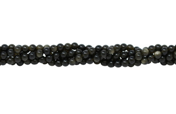Golden Rainbow Obsidian Grade A Polished 4mm Round