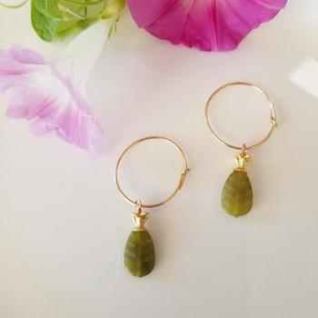 Olive Jade Polished 11x7mm Leaf