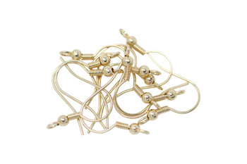 Ear Wires with Spring & Bead Gold Plated - 6 Pairs