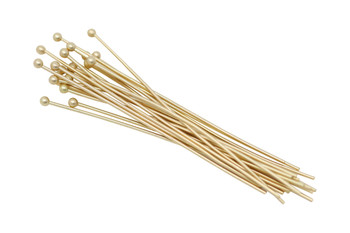 "Satin Hamilton Gold 2"" Long 20 Gauge Ball End Head Pins - 20 Pieces"