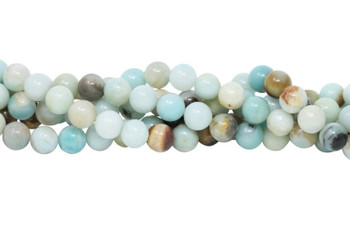 Amazonite Polished Black / Gold 8mm Round