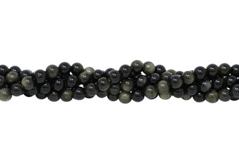 Golden Rainbow Obsidian Grade A Polished 6mm Round