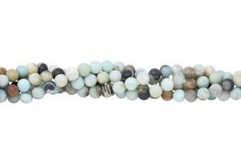 Amazonite Matte Black / Gold 10mm Round