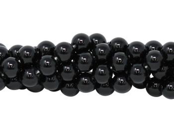 Black Onyx Polished 10mm Round - Large Hole