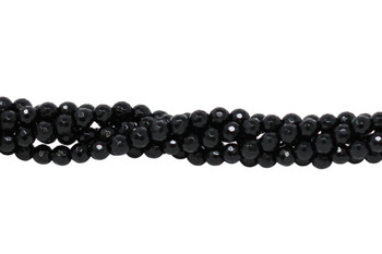 Black Onyx A Grade Polished 6mm Faceted Round - 64 Cut