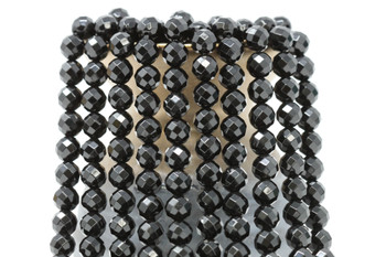 Black Onyx A Grade Polished 8mm Faceted Round - 64 Cut