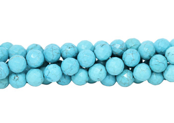 Howlite Turquoise Polished 10mm Faceted Round