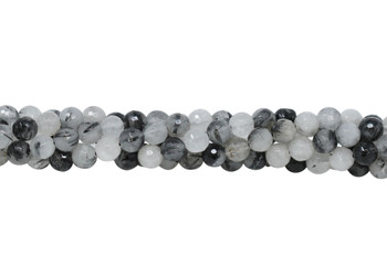 Tourmalated Quartz Polished 6mm Faceted Round