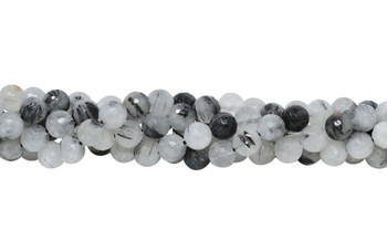 Tourmalated Quartz Polished 8mm Faceted Round