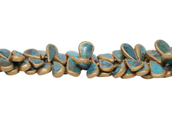 Chinese Turquoise / Gold Polished 10-30mm Drop - Graduated
