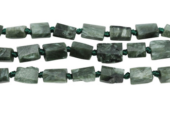 Seraphinite Natural 8-12mm Faceted Tube