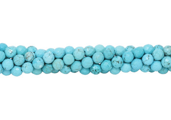 Howlite Turquoise Polished 6mm Faceted Round