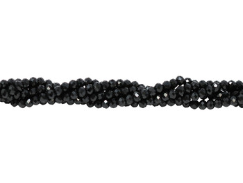 Black Spinel Polished 4mm Faceted Rondel