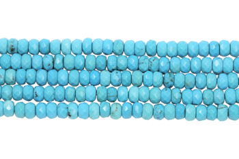 Howlite Turquoise Polished 3x6mm Faceted Rondel