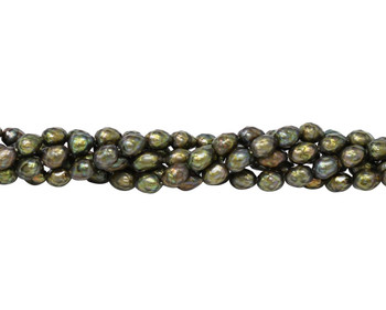 Freshwater Light Olive Pearls 6x8mm Faceted Rice
