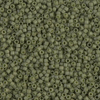 Delicas Size 11 Miyuki Seed Beads -- 391 Opaque Olive Matte
