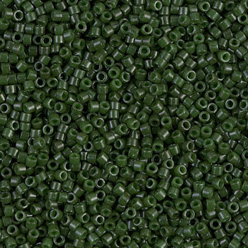 Delicas Size 11 Miyuki Seed Beads -- 663 Dyed Opaque Forest Green