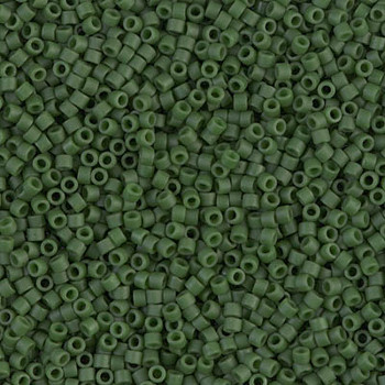 Delicas Size 11 Miyuki Seed Beads -- 797 Dyed Opaque Olive Matte