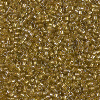 Delicas Size 11 Miyuki Seed Beads -- 909 Chartreuse / Sparkling Marigold Lined