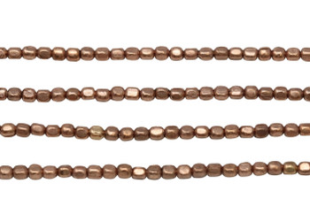 Rose Gold Plated Brass 2mm Tiny Faceted Square