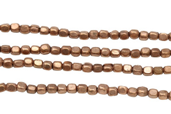 Rose Gold Plated Brass 2.8x2.5mm Small Faceted Square
