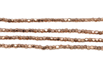Rose Gold Plated Brass 2.5x2.5mm Tiny Faceted Cube