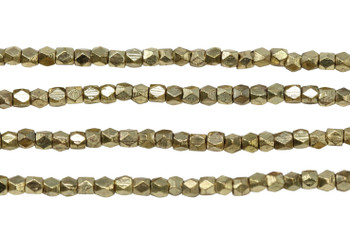 Gold Plated Brass 2.5x2.5mm Tiny Faceted Cube