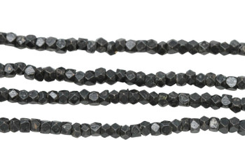 Gunmetal Plated Brass 2.5x2.5mm Tiny Faceted Cube