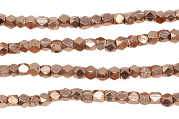 Rose Gold Plated Brass 3mm Faceted Cube
