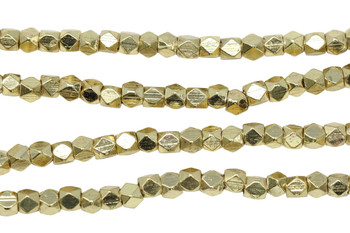 Gold Plated Brass 3mm Faceted Cube