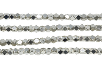 Silver Plated Brass 4.5mm Faceted Cube