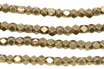 Brass 4.5mm Faceted Cube