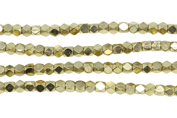 Gold Plated Brass 4.5mm Faceted Cube