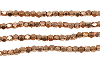 Rose Gold Plated Brass 4.5mm Faceted Cube