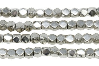 Silver Plated Brass 7mm Faceted Cube
