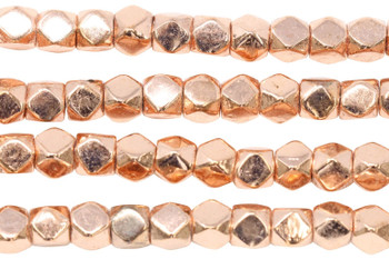 Rose Gold Plated Brass 7mm Faceted Cube