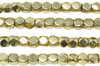 Gold Plated Brass 7mm Faceted Cube