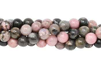 Black Veined Rhodonite Polished 8mm Round