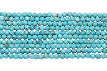 Howlite Turquoise Polished 4mm Faceted Round