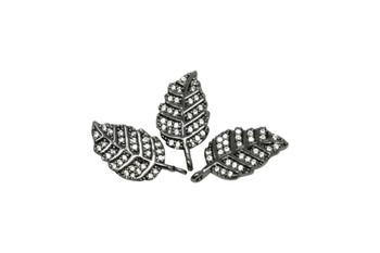 Gunmetal Micro Pave Leaf Charm