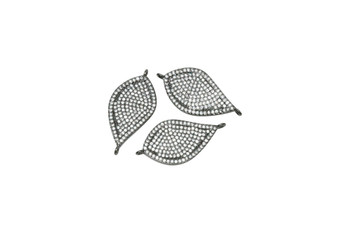 Gunmetal Micro Pave Leaf Shaped Connector