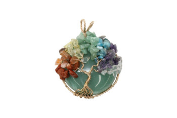 Mixed Gemstones Copper Wire Wrapped Round Pendant