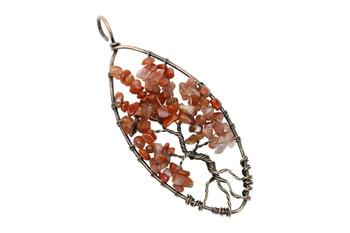 Carnelian Brass Wire Wrapped Oval Tree Pendant