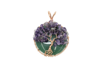 Amethyst Copper Wire Wrapped Tree Round Pendant