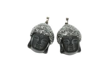 Embellished Obsidian Buddha Head Pendant