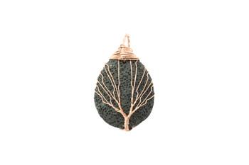 Lava Copper Wire Wrapped Oval Tree Pendant