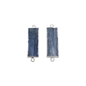 Kyanite Silver Edge Plated 10x36mm Rectangle Pendant Connector