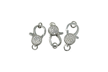 Silver 18x10mm Micro Pave Lobster Clasp