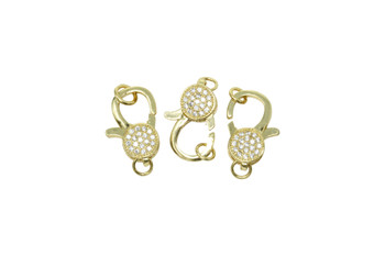 Gold 18x10mm Micro Pave Lobster Clasp
