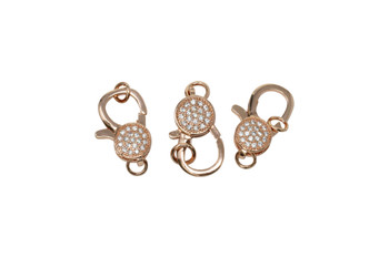Rose Gold 18x10mm Micro Pave Lobster Clasp